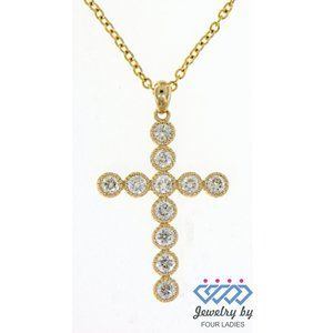Real Round Diamond Holy Cross Pendant Yellow Gold